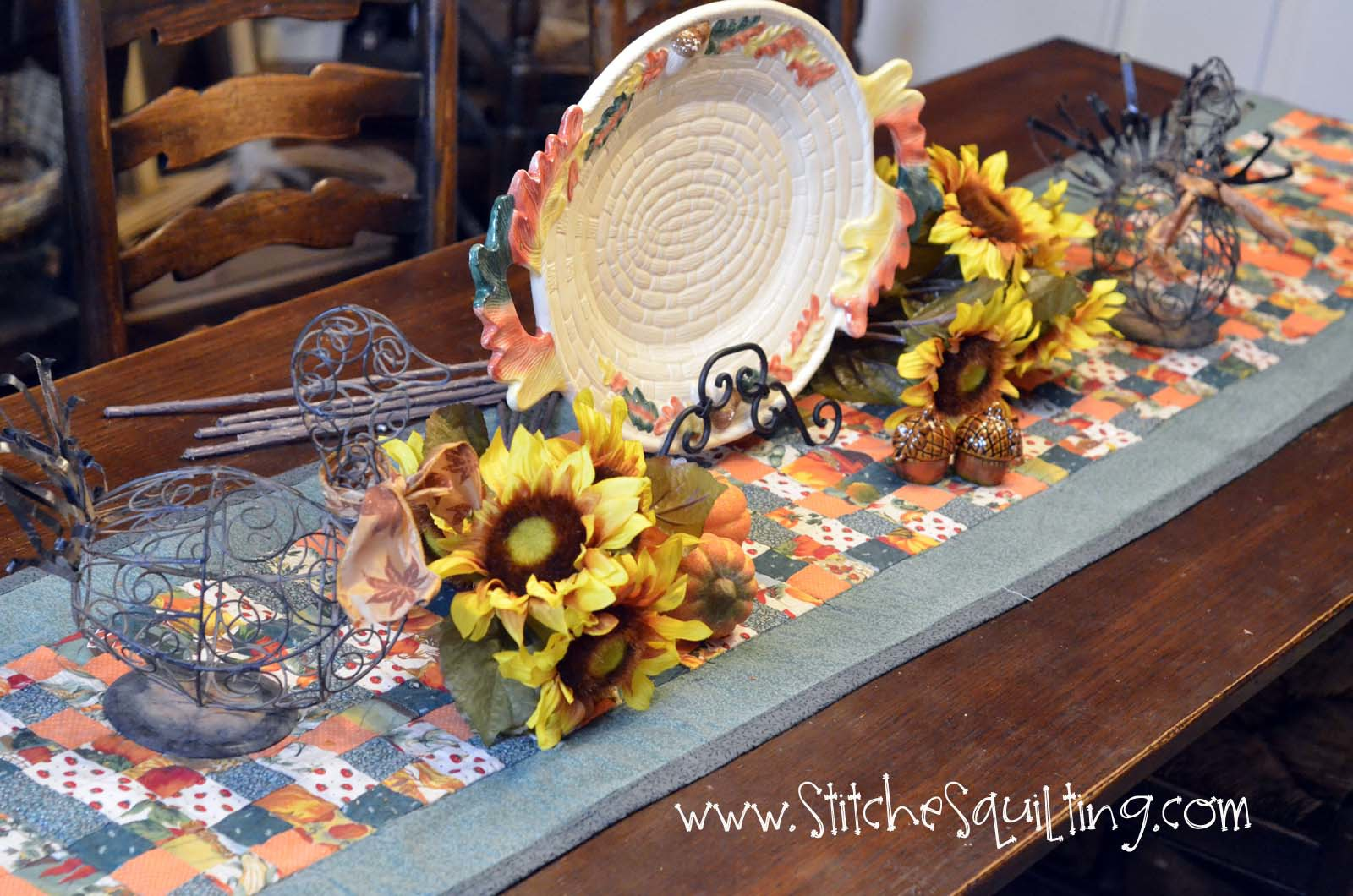 Fall Dining Room Table Decor with Quilted Table Runner