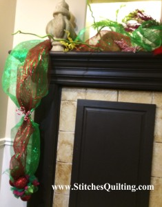 Corner of Grinch Mantel. Here are more details of how we decorated the Glammed out Grinch Fireplace Mantle.